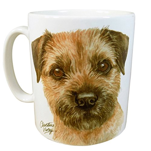 BOXED BROWN BORDER TERRIER DOG PUPPY MADE IN UK PRESENT GIFT QUALITY CERAMIC MUG CUP POT