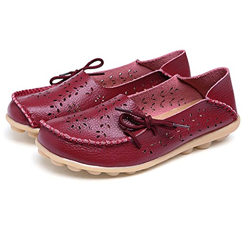 Modemarke beste Show Frauen Leder Loafers Wohnungen Casual Runde Zehe Mokassins Wild Breathable Driving Shoes Weinrot