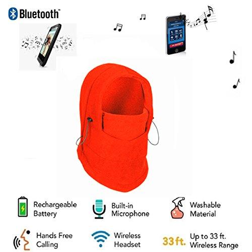 Red Hifi Helmet - Veligoo Outdoor Ski Full Face Mask Windproof Mask with Bluetooth Neck Warmer Mask Hat Wireless Hi-Fi Stereo Headphone (red)