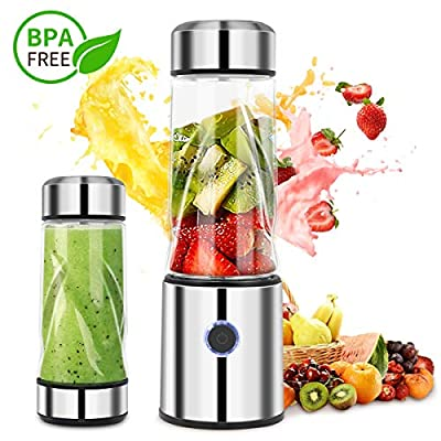 Portable Personal Smoothie Blender Mini Mixer Juicer Cup Rechargeable Electric Blender Lid Faster Travel Fruit Shaking with Professional Single Service licuadora port¨¢til Food-Grade