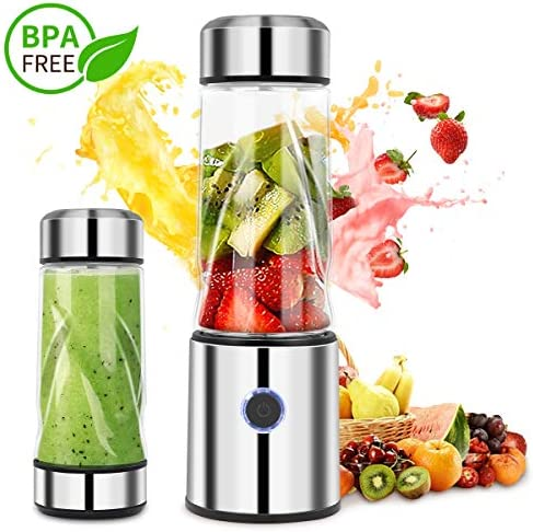 iFedio Personal Portable Blender Smoothie USB Rechargeable Quiet Mini Mixer Juicer Travel,Sports, Home Food-Grade 14 oz Silver