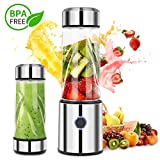 iFedio Personal Portable Blender Smoothie USB Rechargeable Quiet Mini Mixer Juicer Travel,Sports, Home Food-Grade 14(oz) Silver