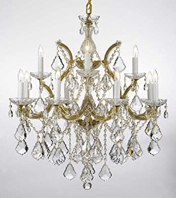 """Maria Theresa Chandelier Lighting Crystal Chandeliers H30 """"X W28"""" Trimmed with Spectra Crystal – Reliable Crystal Quality By Swarovski"""