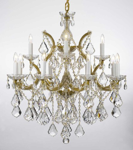 "Maria Theresa Chandelier Lighting Crystal Chandeliers H30 ""X W28"" Trimmed with Spectra Crystal – Reliable Crystal Quality By Swarovski"