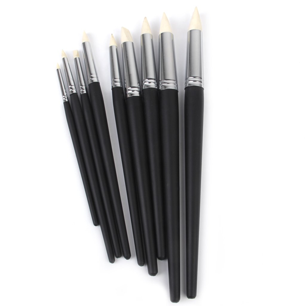 9pcs Flexible Clay Sculpting Shapers Wipe Out Tools Black