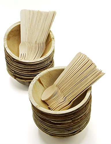 Party Disposable Deep Dishes Dinnerware Set of 75 - Round 16 Ounce Palm Leaf Bowl Plates (25), Wooden Forks(25) and Spoons (25) - Compostable ()