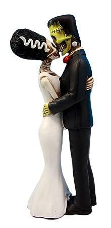 Ebros Day of The Dead Wedding True Love Kiss Skeleton Frankenstein Skull Bride and Groom Couple Figurine Graveyard Macabre Ossuary Halloween Spooky Home Decor Statue
