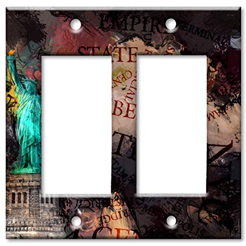 Faceplate Liberty Of Statue - Art Plates 2-Gang Rocker (Decora) OVERSIZE Switch Plate/OVER SIZE Wall Plate - Statue of Liberty Metropolitan