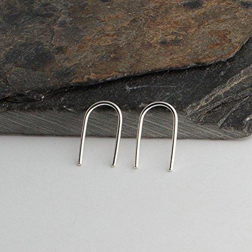 ing Open Teardrop Arc Hoop Line Earrings 13 x 0.8 ()