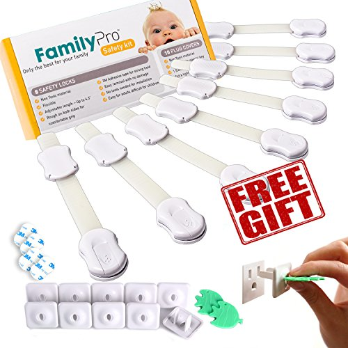 Child Safety Locks. 8 Childproof Cabinet Locks. Bonus 10 Childproof Outlet Covers. Childproof Cupboard, Cabinet, Drawer Locks, Dryer Child Lock, Fridge Lock and Trash Can Lock. No Drilling Needed - Cupboard Kit