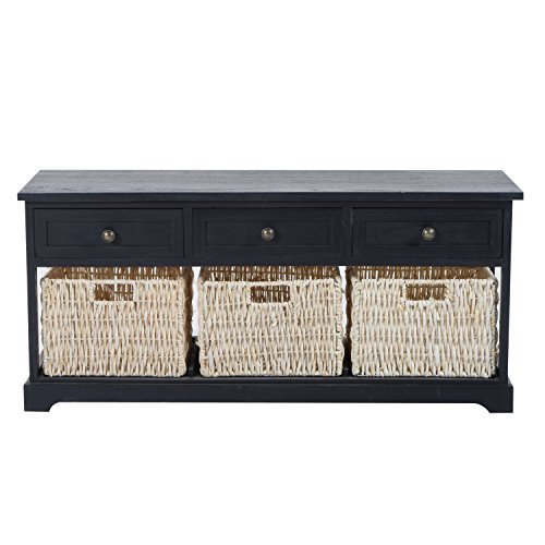 Contemporary Antique Black Storage Console Table Removable Drawer Straw Basket With Ebook - Mirrored Column Lamp