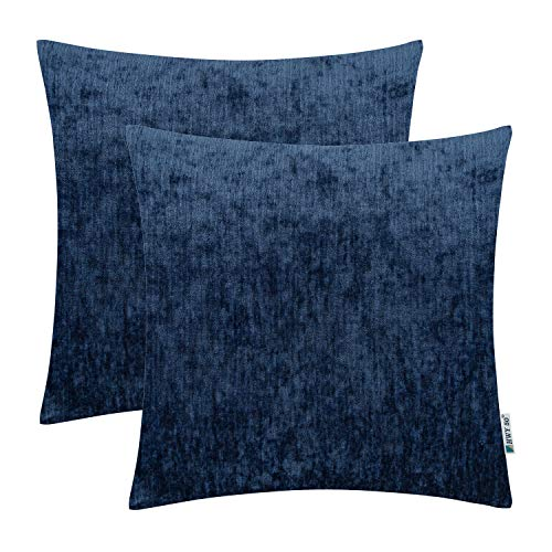 HWY 50 Cashmere Soft Decorative Throw Pillows Covers Set Cushion Case for Couch Bed Living Room 18x18 Inches Blue Comfortable Pack of 2 (Decorative Pillows Room Living)