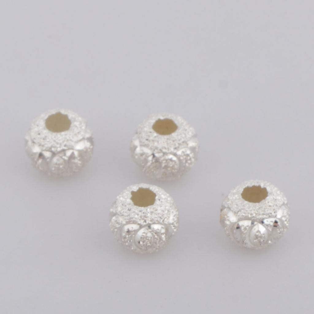 Hellery Perles intercalaire Perle Passante en Argent 925 DIY Bijoux Accessoires de Bricolage Confection de V/êtements et Chapeaux 4mm 6pcs