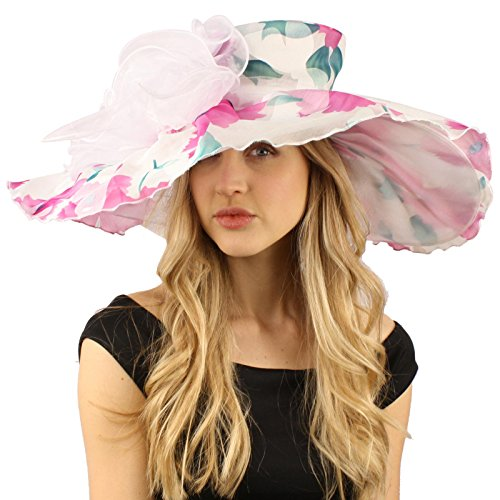 Victorian Floral Party Print Overlay Kentucky Derby Floppy Big Brim 8