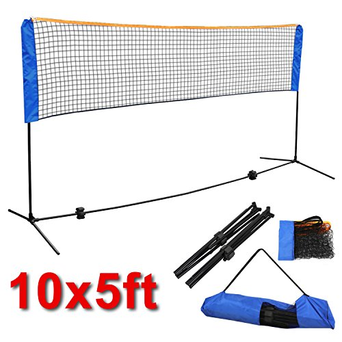 Smartxchoices 10ft Portable Badminton Net and Frame Set Professional Volleyball Training Practice Net with Poles Height Adjustable Net with Carrying Bag by Smartxchoices