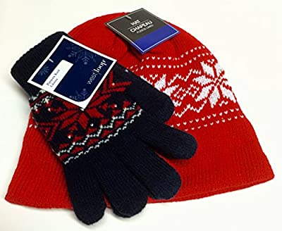 Women's Fleece-lined Hat, Cap with Gloves (Touch Sensitive Gloves for Cell Phone Use); Red Hat with White Nordic Snowflake Pattern; Dark Blue Gloves, Red & White Nordic Snowflake Pattern; 2-pc