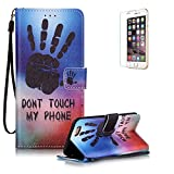 iPod Touch 5th/6th Case Magnet Flip Wallet [with Free Screen Protecor], Funyye Premium PU Leather Wallet Wrist Strap Embedded Flip Magnetic Closure Built-in Credit Card Slot and Soft Silicone TPU Bumper Stand Book Type Case Cover for Apple iPod Touch 5th/6th Generation - Black Palm