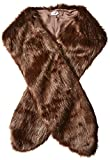 BADGLEY MISCHKA Women's Faux Mink Stole Shawl with Solid Lining, Brown One Size
