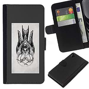 EJOY---La carpeta del tirón la caja de cuero de alta calidad de la PU Caso protector / Sony Xperia Z2 D6502 / --dibujo boceto gris lápiz de tinta negro