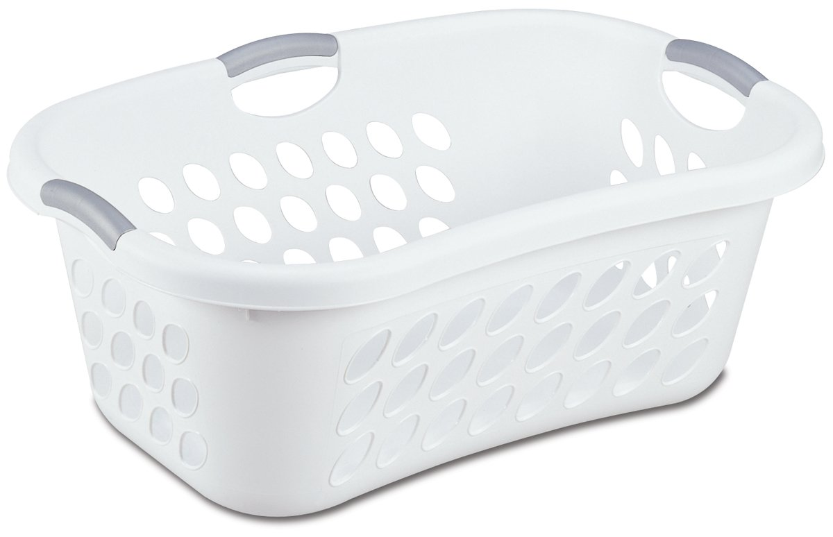 Sterilite 12108006 1.25-Bushel Ultra HipHold Laundry Basket, 6-Pack, White with Titanium Handles
