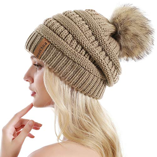 (Winter Knit Beanie Slouchy Hat Soft Thick Warm Beanie for Women with Faux Fur Pompom Skull Caps)