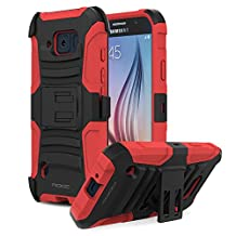 Galaxy S6 Active Case, MoKo Shock Absorbing Hard Cover Ultra Protective Heavy Duty Case with Holster Belt Clip + Built-in Kickstand for Samsung Galaxy S6 Active 5.1 Inch (2015) - Red