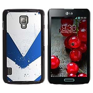 Be Good Phone Accessory // Dura Cáscara cubierta Protectora Caso Carcasa Funda de Protección para LG Optimus L7 II P710 / L7X P714 // Blue & White Minimalist