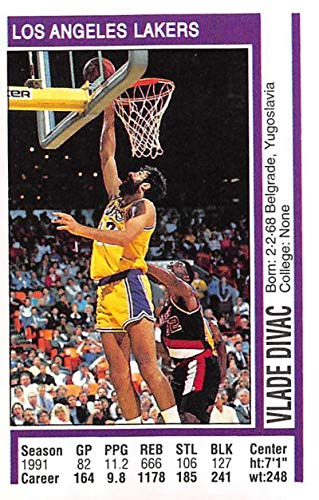 ce0b06584109 1991-92 Panini Stickers Basketball  16 Vlade Divac Los Angeles Lakers 2  inch by 3 inch collectible NBA Album Sticker