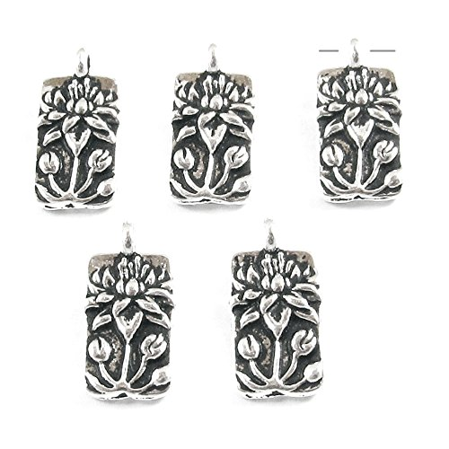 TierraCast Pewter Rectangle Charms-SILVER FLOATING LOTUS (5)