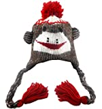 Sock Monkey Hat Baby Girl / Boy Unisex (Red/brown, One Size)