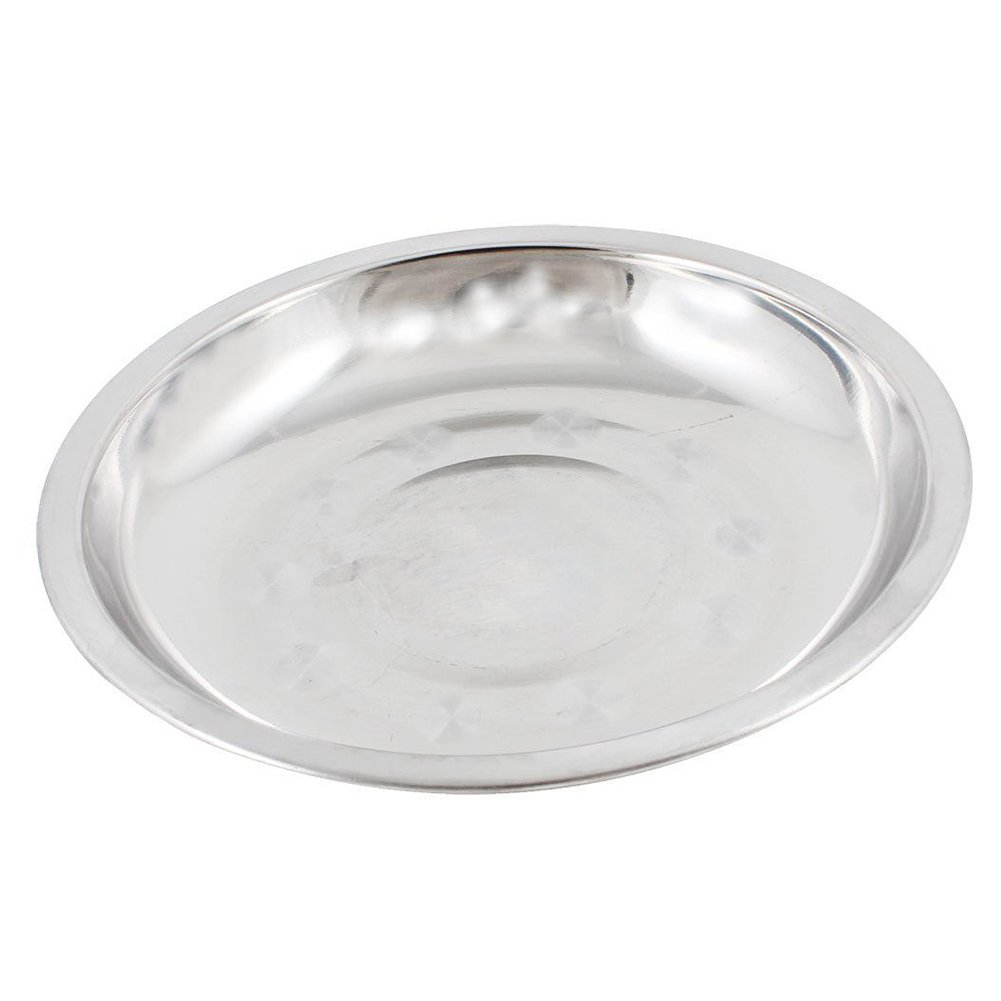 less Steel Round Plates Dish, Traveling, Outdoor Events,Kids Lunch and Dinner Camping (16cm,silver)