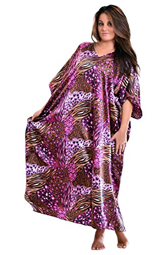 Pink Caftan - Up2date Fashion Pink Cocktail Animal Print Caftan, One Size Style Caf-30C2
