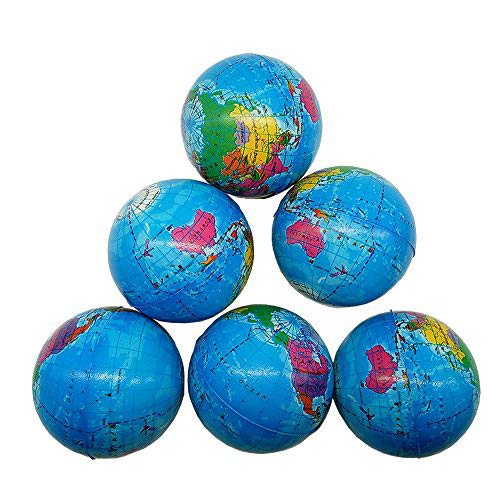 Sohapy 2.48'' Mini Squeezable Globe Stress Balls,Tension Reliver Balls,Party Favor,Soft PU Globe Ball,Earth Pattern,Party Toys - 6 Pack