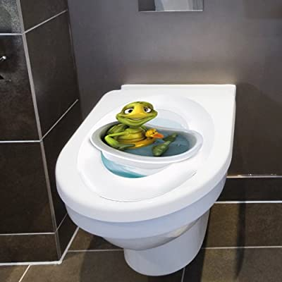 "Wandkings Toilet Lid Decal ""Turtle in Bathtub with Lifesaver""- 11.8 x 15.7 Inch"
