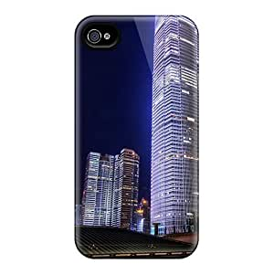 LJF phone case For Iphone Case, High Quality Skyscrapers At Night Hdr For Iphone 4/4s Cover Cases