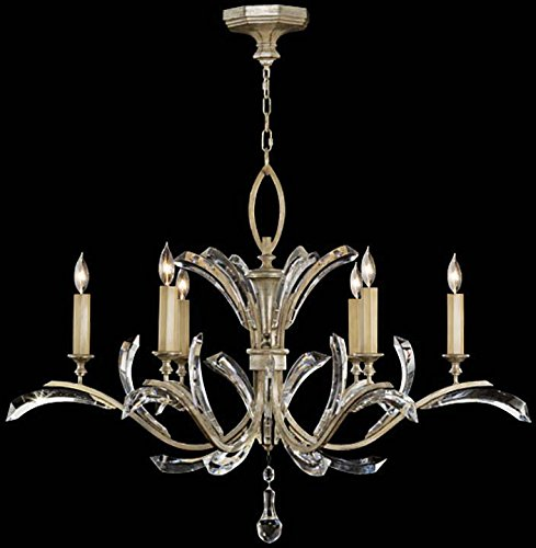 Fine Art Lamps 702440, Beveled Arcs Crystal 1 Tier Chandelier Lighting, 6 Light, 360 Watts, Silver ()