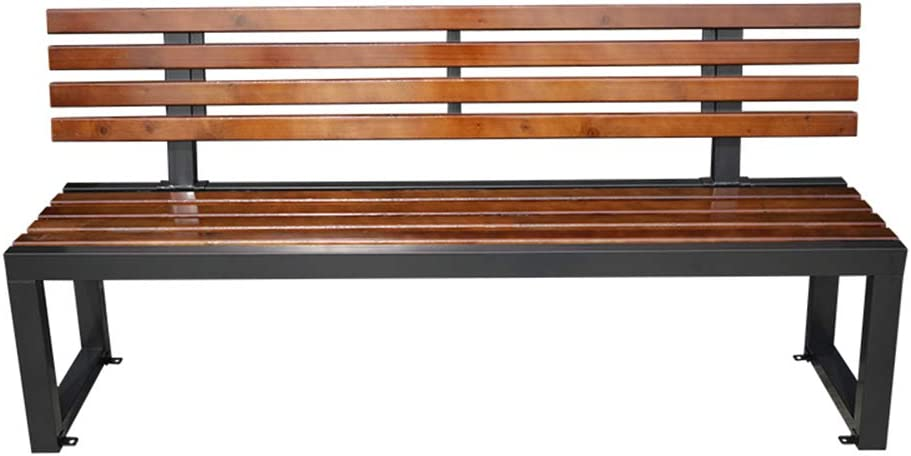 Outdoor Patio Garden Bench Park Bench with backrest, 3-Seater Weather-Resistant Outdoor Leisure Porch Chair, Metal Steel Frame and anticorrosive Solid Wood seat, The Load Capacity is 880 pounds