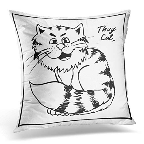 Emvency Throw Pillow Cover Super Thug Kitty on The Holiday Rest Infantile Outline Sketch Cat for Coloring Book Bandit Animal Doodle Decorative Pillow Case Home Decor Square 16x16 Inches Pillowcase