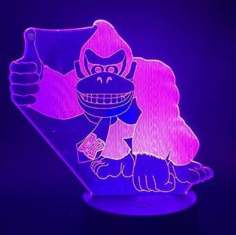 Donkey Kong Figura Juego 3D Lámpara De Luz Nocturna Para Niños Visual Led Lámpara De Mesa Para Dormitorio Colores Cambio Para Regalo De Navidad: Amazon.es: Iluminación