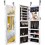 Sunix Mirrored Jewelry Cabinet, Lockable Jewelry Armoire Organizer Wall Door Mounted White