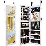 Sunix Mirrored Jewelry Cabinet, Lockable Jewelry Armoire Organizer Wall Door Mounted White