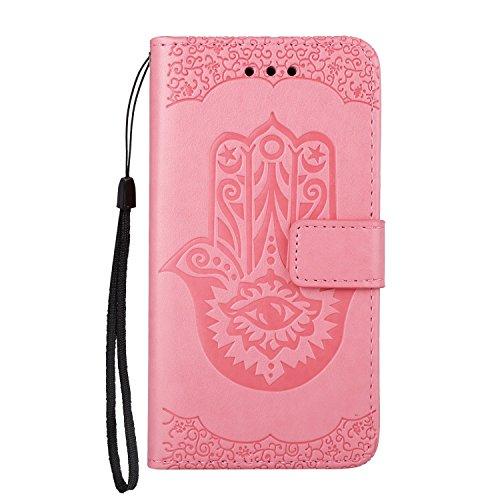 SRY-Caso sencillo Cubierta de cuero de la caja de la PU con la bolsa de la carpeta y acollador y Kickstand para el iPhone 6 y 6s Protección reforzada ( Color : Rosegold ) Pink