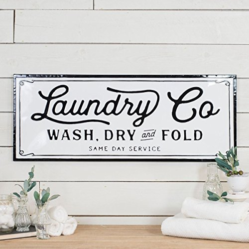 - VIPSSCI Large Vintage Inspired Black and White Embossed Metal Decorative Laundry Sign