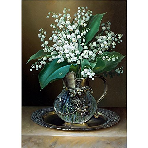 Stone Oil Resin Vase (Sttech1 Oil Diamond Embroidery Painting New Paintworks Paint By Number for Kids and Adults - Flora Lining with Green Leaves (Vase))