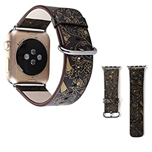 For Apple Watch Band, 38mm/42mm Leather iwatch Replacement Strap Rural Style Flower Bracelet with Stainless Metal Clasp for Apple Watch Series 3 Series 2 Series 1 Sport and Edition (Black, 42mm)