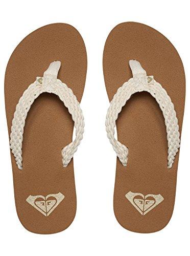 Roxy Women's Porto Sandal Flip Flop Cream, 9 M US