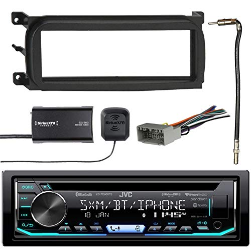 1-DIN Bluetooth CD AM FM Car Stereo with Sirius Radio Tuner, Dash Kit for Chry Dodge Jeep, Antenna Adapter Cable Radio Wiring Harness