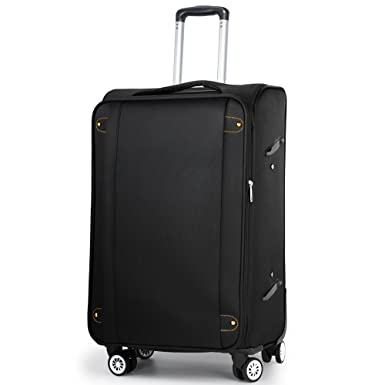 Lightweight Travel Luggage, 24 Inch Large Expandable Soft-Side Spinner Suitcase  Black