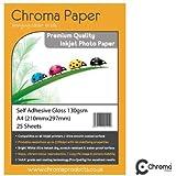 Chroma - Carta fotografica auto-adesiva, formato A4, super lucida, grammatura 130 gmq, 25 fogli