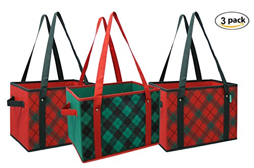 Earthwise Reusable Grocery Bag Box Shopping Plaid Design Deluxe COLLAPSIBLE Gift Basket Bag w/Reinforced Fold Down Bottom Storage Boxes Bins Cubes (Set of (Christmas Shopping Bags)
